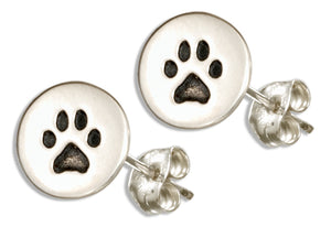 Sterling Silver Etched Mini Paw Print Post Earrings