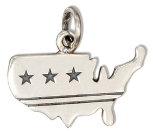 Sterling Silver Usa Charm with Stars and Stripes