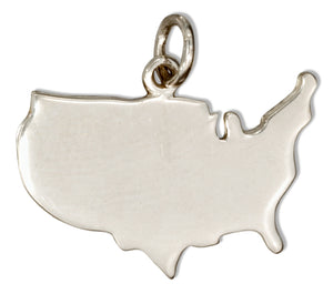 Sterling Silver Silhouette Usa Charm