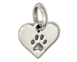 Sterling Silver Tiny Flat Heart with Paw Print Charm