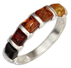 Sterling Silver Multicolor Squares Baltic Amber Ring