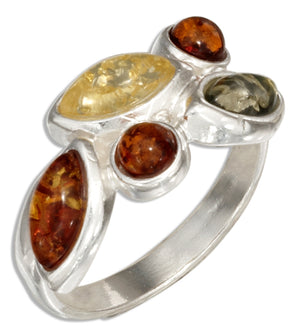 Sterling Silver Round and Marquise Multicolor Amber Ring