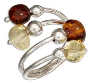 Sterling Silver Adjustable Multicolor Baltic Amber Bypass Ring