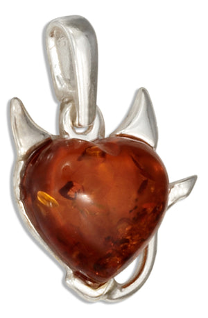 Sterling Silver Baltic Amber Heart Devil Pendant