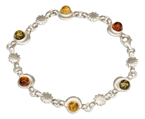 Sterling Silver 7 inch Multicolor Baltic Amber Moon and Sun Link Bracelet
