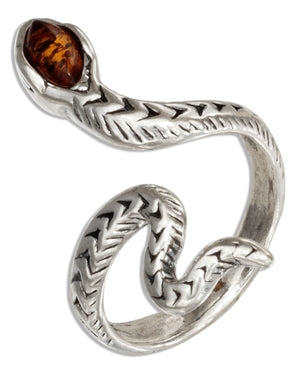 Sterling Silver Adjustable Baltic Amber Snake Ring
