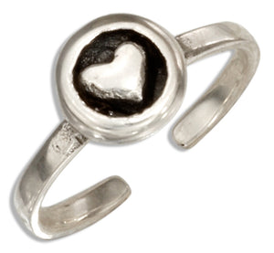 Sterling Silver Circle with Heart Toe Ring
