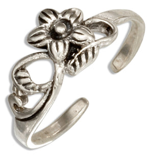 Sterling Silver Vine and Flower Toe Ring