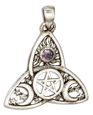 Sterling Silver Celtic Triquetra Pendant with Pentacle and Purple Glass