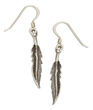 Sterling Silver Detailed Feather Earrings