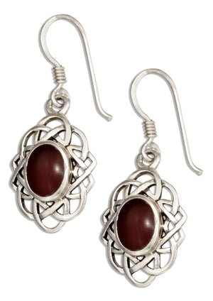 Sterling Silver Oval Celtic Weave Earrings with Simulated Carnelian