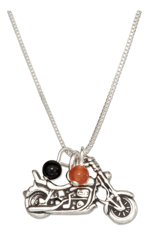 Sterling Silver 18 inch Motorcycle Pendant Necklace with Black and Orange Beads