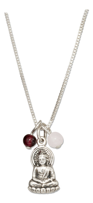 Sterling Silver 18 inch Sitting Buddha Pendant Necklace with Garnet & Rose Quartz Beads