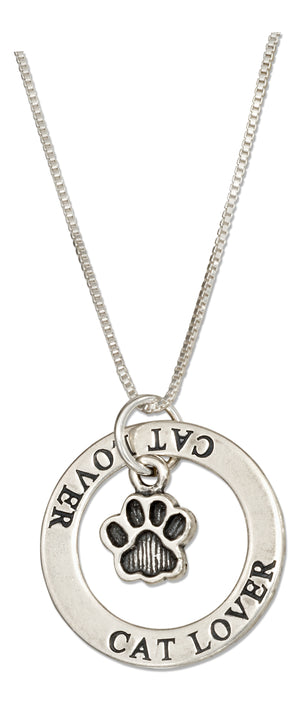 "Sterling Silver 18 inch ""Cat Lover"" Washer Pendant Necklace with Paw Print"