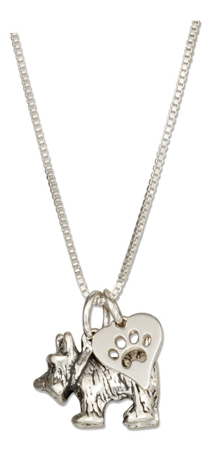 Sterling Silver 18 inch Scottie Scottish Terrier Pendant Necklace with Paw Print Heart