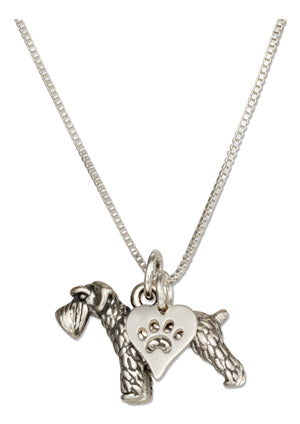 Sterling Silver 18 inch Schnauzer Dog Pendant Necklace with Paw Print Heart