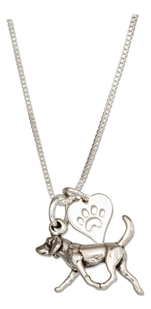 Sterling Silver 18 inch American Foxhound Dog Pendant Necklace with Paw Print Heart