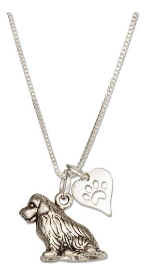 Sterling Silver 18 inch Newfoundland Dog Pendant Necklace with Paw Print Heart