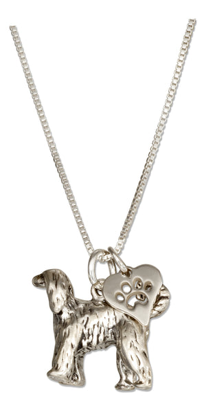 Sterling Silver 18 inch Afghan Hound Dog Pendant Necklace with Paw Print Heart