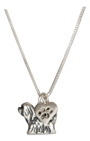 Sterling Silver 18 inch Lhasa Apso Dog Pendant Necklace with Paw Print Heart