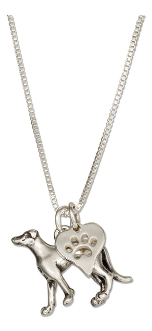Sterling Silver 18 inch Greyhound Dog Pendant Necklace with Paw Print Heart