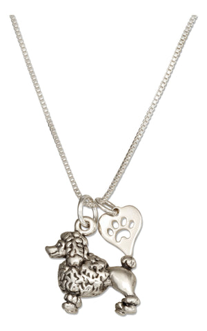 Sterling Silver 18 inch Poodle Dog Pendant Necklace with Paw Print Heart