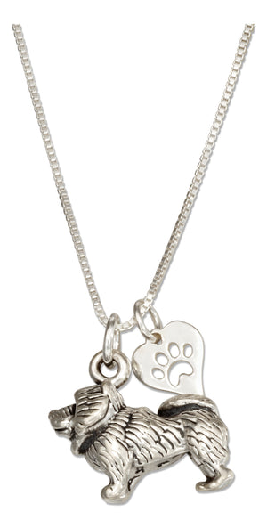 Sterling Silver 18 inch Chow Chow Dog Pendant Necklace with Paw Print Heart