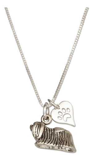 Sterling Silver 18 inch Pekingese Dog Pendant Necklace with Paw Print Heart