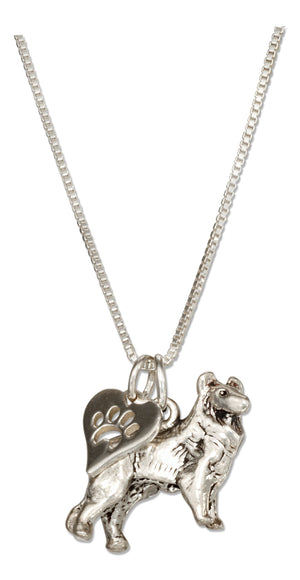 Sterling Silver 18 inch Collie Dog Pendant Necklace with Paw Print Heart