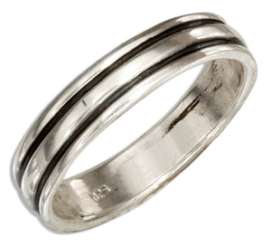 Sterling Silver 4mm Band Ring with Black Stripes