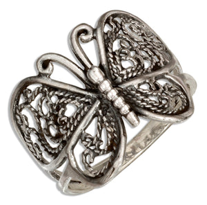 Sterling Silver Antiqued Filigree Butterfly Ring