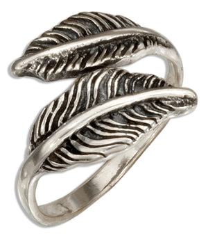 Sterling Silver Adjustable Double Feathers Bypass Ring