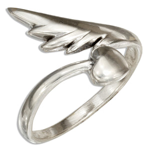 Sterling Silver Heart and Angel Wing Ring