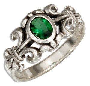 Sterling Silver Fleur-de-lis Ring with Green Glass