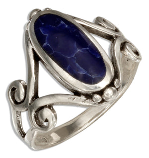 Sterling Silver Oval Simulated Sodalite Ring with Open Scroll Designs