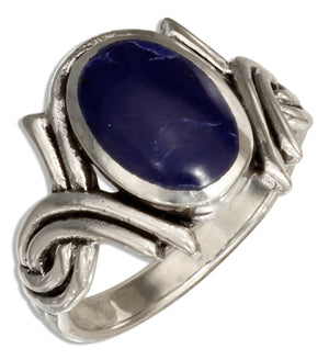 Sterling Silver Simulated Sodalite Ring with Double Twist