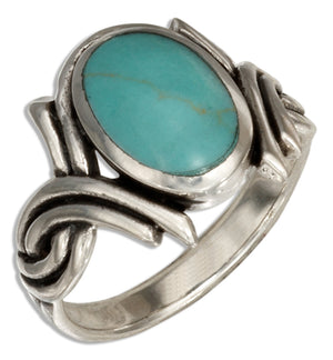 Sterling Silver Simulated Blue-green Stone with Double Twist
