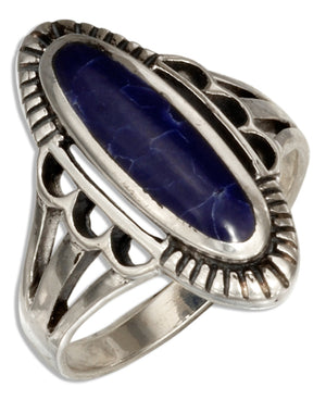 Sterling Silver Oval Simulated Sodalite Ring with Double Split Shank
