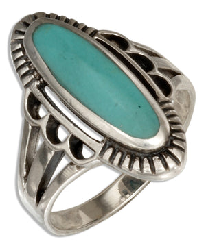 Sterling Silver Oval Simulated Blue-green Stone Ring with Double Split Shank