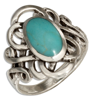 Sterling Silver Oval Simulated Blue-green Stone Ring with Celtic Loops