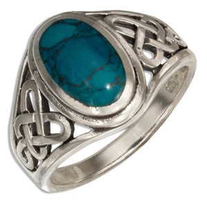 Sterling Silver Oval Simulated Chrysocolla Ring with Open Celtic Weave
