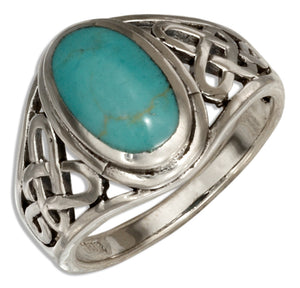 Sterling Silver Oval Simulated Blue-green Stone Ring with Open Celtic Weave