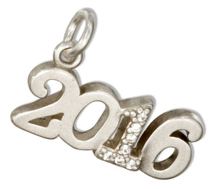 "Sterling Silver and Crystal Year ""2016"" Charm"