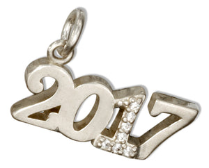 "Sterling Silver and Crystal Year ""2017"" Charm"