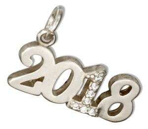 "Sterling Silver and Crystal Year ""2018"" Charm"