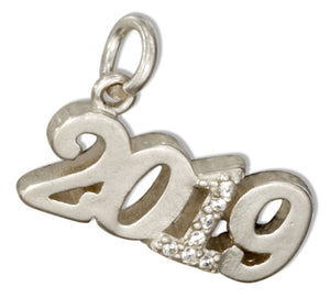 "Sterling Silver and Crystal Year ""2019"" Charm"