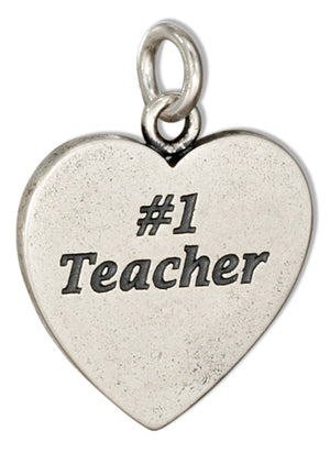 "Sterling Silver Heart Shape ""#1 Teacher"" Message Charm"