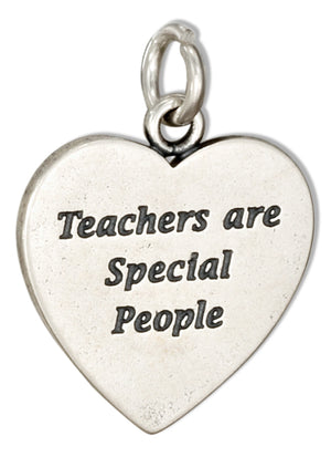 "Sterling Silver Heart Shape ""Teachers Are Special People"" Message Charm"