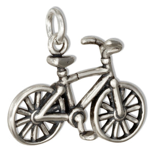 Sterling Silver 3D Bicycle Charm