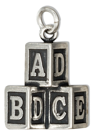 Sterling Silver Stacked Toy Alphabet Baby Blocks Charm